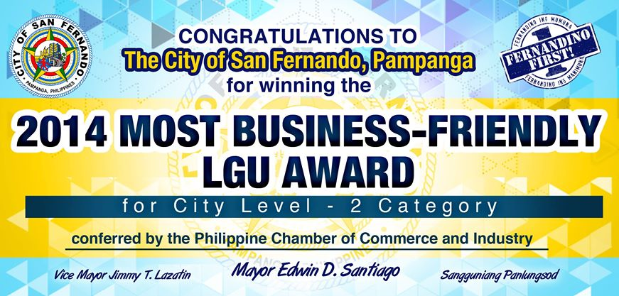 2014 Most Business-Friendly LGU Award for City Level - 2 Category