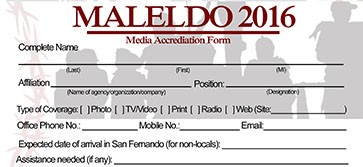 Maleldo 2016 Media Accreditation Form