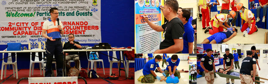School, Barangay disaster response teams in CSF test skills in Disaster Volunteers Capability Assessment